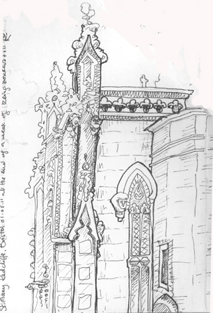Ink Drawing Gargoyles At Saint Mary Redcliffe