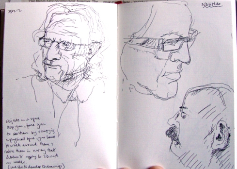 Ink sketches: heads at the gallery.