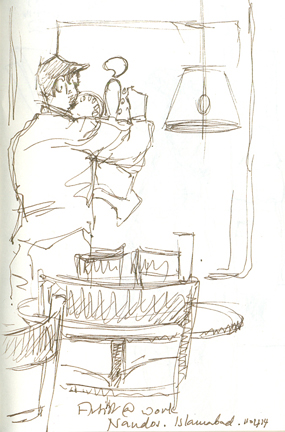 The artist drawing the artist