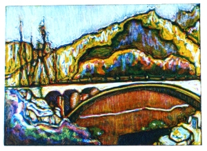 Karakoram Bridge monotype