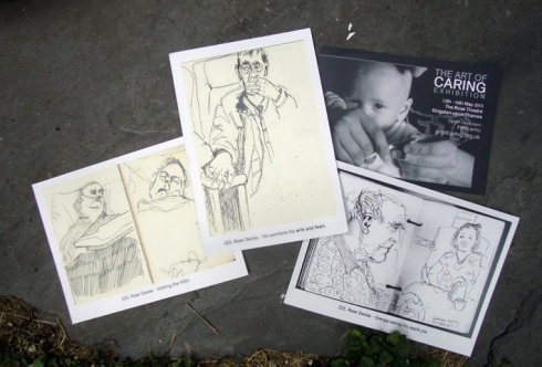 Three postcards for the Art Of Caring exhibition