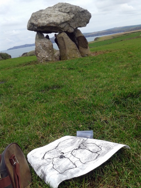 stone and drawing