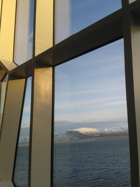 Mountains from the Harpa opera house