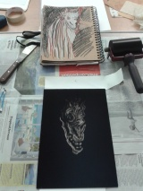 Starting to draw from my sketch onto the inked plate