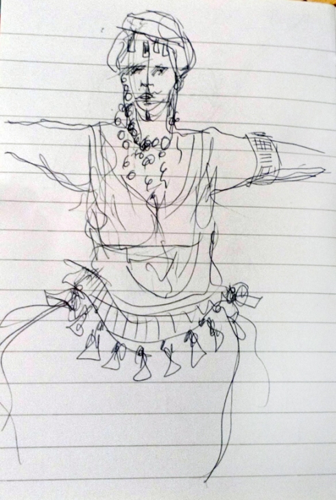 Drawing of the torso and head of a belly dancer