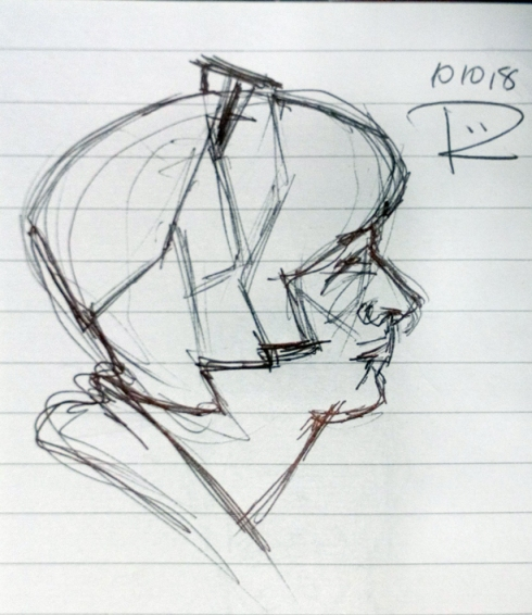Drawing of a female head from the side with glasses pushed up